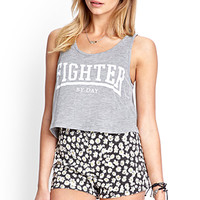 FOREVER 21 Fighter By Day Tank Grey/White