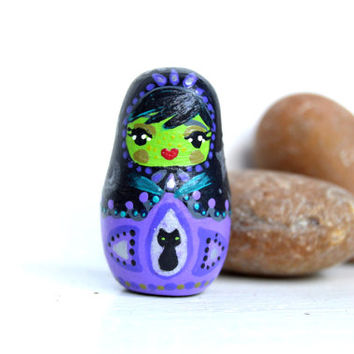 Custom Clay Hand Painted OOAK Matryoshka Collectible Russian Nesting Doll Witch Halloween Scary Holiday October Black Purple