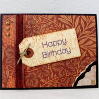 Rustic Birthday Card - Autumn Birthday - Fall Birthday - Happy Birthday - Masculine Birthday - Vibrant Copper - Blank Card - Purple Card