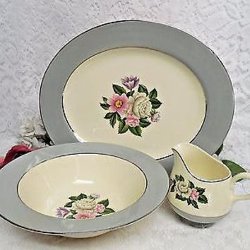 Vintage Homer Laughlin China Dinnerware Crinoline, #CV5 3 PC Serving set