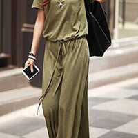 Army Green Drawstring Casual Long Dress