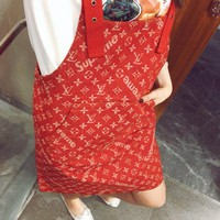 LV Overalls Women X Supreme Jumpsuit Print Dress B/A Red
