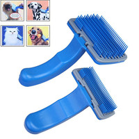 2 Size Blue Pet Dog Cat Fur Hair Grooming Self Quick Clean Shedding Tool Brush Comb