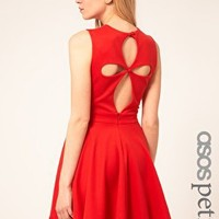 ASOS Petite | ASOS PETITE Exclusive Skater Dress With Cut Out Back Detail at ASOS