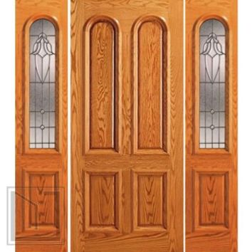 Prehung Mahogany Arch Lite External Two Sidelights Door, 4 Panel
