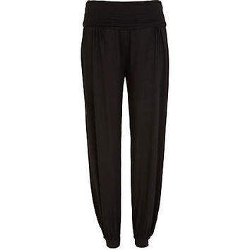 Black ruched waist harem trousers