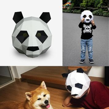 DIY Paper Mask Panda Head Creative Party Costume Cosplay Masquerade Funny