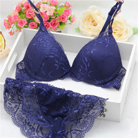 New Brand Women underwear Bra Sets , BRA + Hollow Panties Lace bra Sexy push up bra and briefs sets brassiere lingerie set