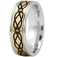 Wedding Band - Celtic Mens Ring with Black Rhodium in Yellow and White Gold