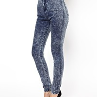 Daisy Street Denim Tube Pant in Acid Wash