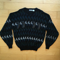 Vintage 80s graphic knit sweater cosby sweater