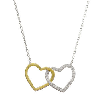 Rhodium And Gold Plated Sterling Silver, Open Double Heart CZ Necklace