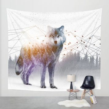 A Wilderness Within / Wolf Wall Tapestry by Soaring Anchor Designs   Society6