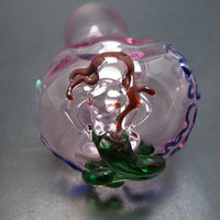 Mermaid on a Large Pink Glass Pipe