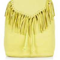 Suede Fringe Backpack - Chartreuse