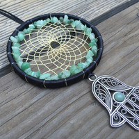 Aventurine Hamsa Hand Dream Catcher-Medium