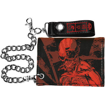 Five Finger Death Punch Men's Red Ninja Tri-Fold Wallet Black