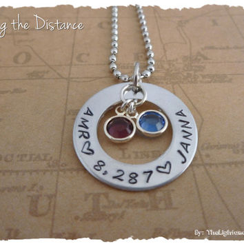 LDR Necklace - Custom with your miles apart and names