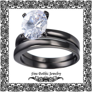 Gothic Wedding Rings | Black Wedding Ring | Classic 1.5Ct Oval White Cz Black Gold Filled Ring Set | Size 6 7 8 9 10 #155-w