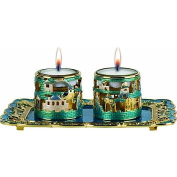 Candle Holder crystals w/tray Turquoise