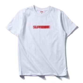 """Supreme""Contracted print monogram casual loose T-shirt"