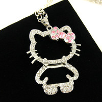 Long silver women long pendant necklaces & pendants silver  hello kitty jewelry necklace women necklace new arrival 2016 nke-k54