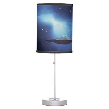 UFO alien galaxies space Table Lamps