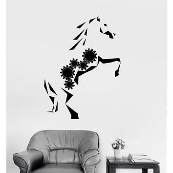 Vinyl Wall Decal Mechanical Gear Abstract Horse Art Animal Stickers Unique Gift (1655ig)