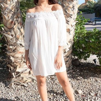 Leave Me Speechless Cream Off The Shoulder Lace Swing Dress