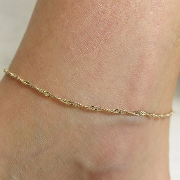Ladies Simple Chain Beach Sexy Anklet = 5892937601