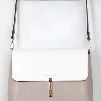 Two-Tone Vegan Leather Envelope Handbag