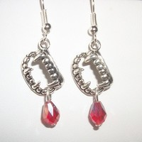 Vampire Teeth Earrings with blood red crystals