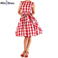 Audrey Hepburn 50s 60s Vintage Women New Summer Dresses 2016 Retro Robe Rockabilly Red Plaid Sleeveless Party Dresses MISSDRESS