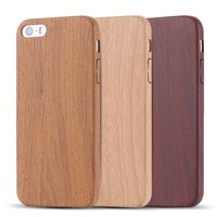 Case Cover for iPhone Retro vintage Wood Leather PU 5 /5s SE Slim