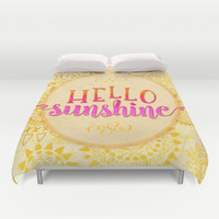 Hello Sunshine Duvet Cover by Noonday Design