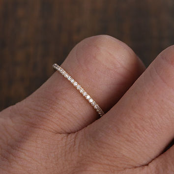 Full Eternity BandDiamond Wedding RingSolid 14K Rose GoldAnniversary Ring