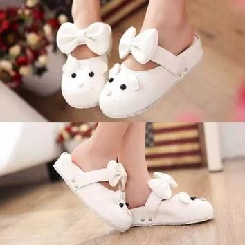 Lolita Slippers Japan Cute Slippers Fresh Air Bowknots Shoes Flatform Shoes Free Shipping