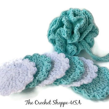 Crochet Spa Set Wash Cloths Loofa Puffy and Flower Shaped Facial Scrubbies Robins Egg Blue and White Mad to Order