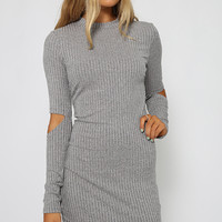 Gray Cut Out Sleeve Bodycon Dress