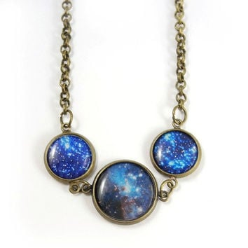 Blue Galaxy Necklace  Nebula Pendant Necklace  Blue by MistyAurora
