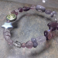Purple Stretch Glass Beaded Bracelet