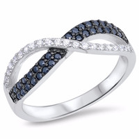 Sterling Silver CZ Simulated Diamond Simulated Black Diamond Infinity Ring 5MM