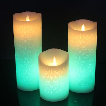 Color Change Gradient LED Candles Remote Control Electronic Flameless