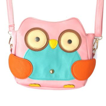 Owl Shaped Animal Bird Themed Cross body Shoulder Bag for Women in Light Pink