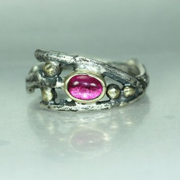 A Ruby Gold Silver Twig Branch Womans Organic Alternative Statement Rustic Natural Band Handmade RingTwig Ring