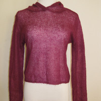 Anthropologie Sisters Sheer Mohair Knit Cropped Hoodie S