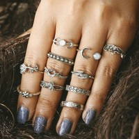 New 11pcs/Set Vintage Punk Antique Moon Leaf Flower Carved Midi Finger Rings For Women Bohemian Knuckle Ring Set Jewelry Anillos