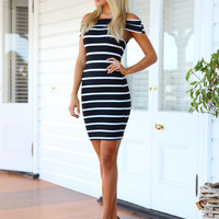 ESTELLE DRESS (BLK) - Gorgeous off the shoulder stripe patterned dress