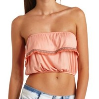 Embroidered Fringe Flounce Tube Top by Charlotte Russe - Apricot