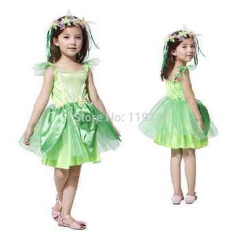 2017 New Novelties Green elf Sprite dress Leg Avenue Neverland Tinkerbell Garden Fairy kids Costume lovely woodland fairy dress
